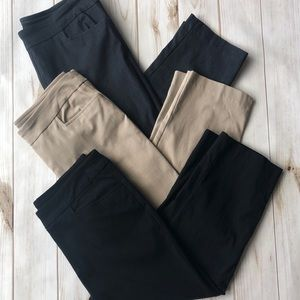 3 PAIRS- TIME AND TRU CROPPED STRETCH CAPRIS